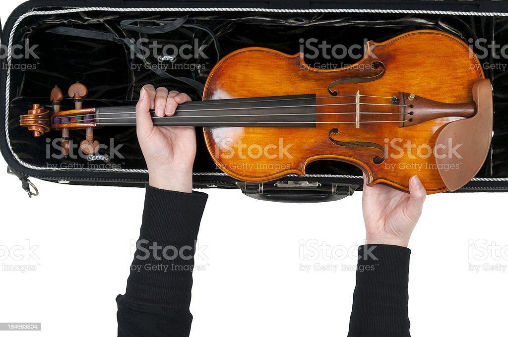 Violinist and Violin Case stock photo