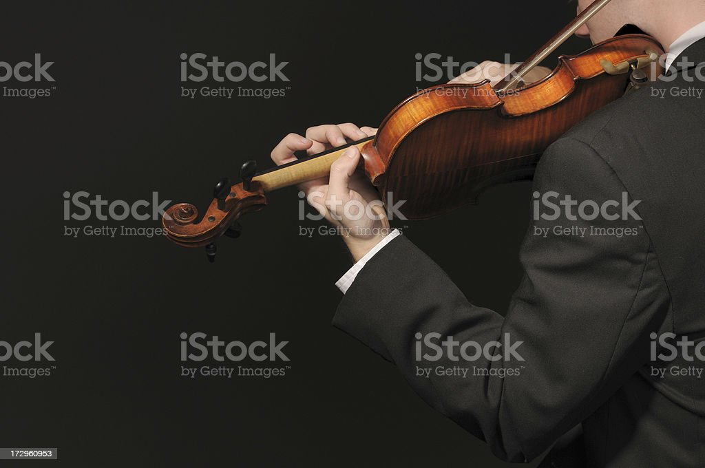Violinist bowing royalty-free stock photo