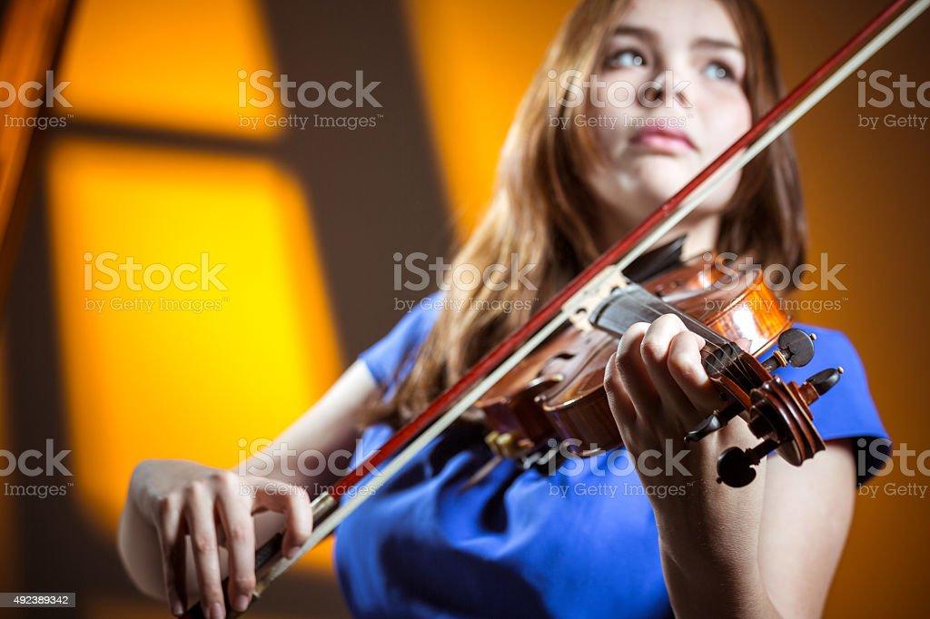 Violinist dreams stock photo