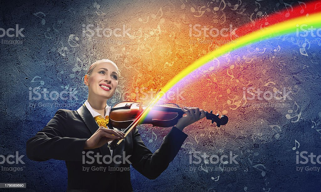 Violinist in business suit royalty-free stock photo