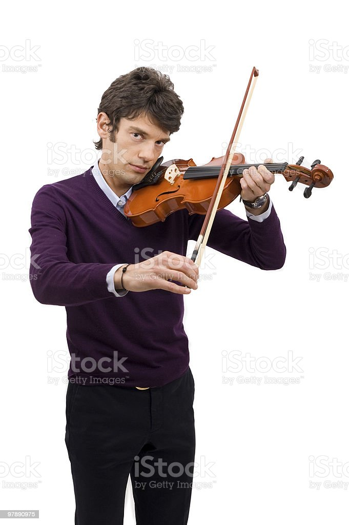 violinist on withe background royalty-free stock photo