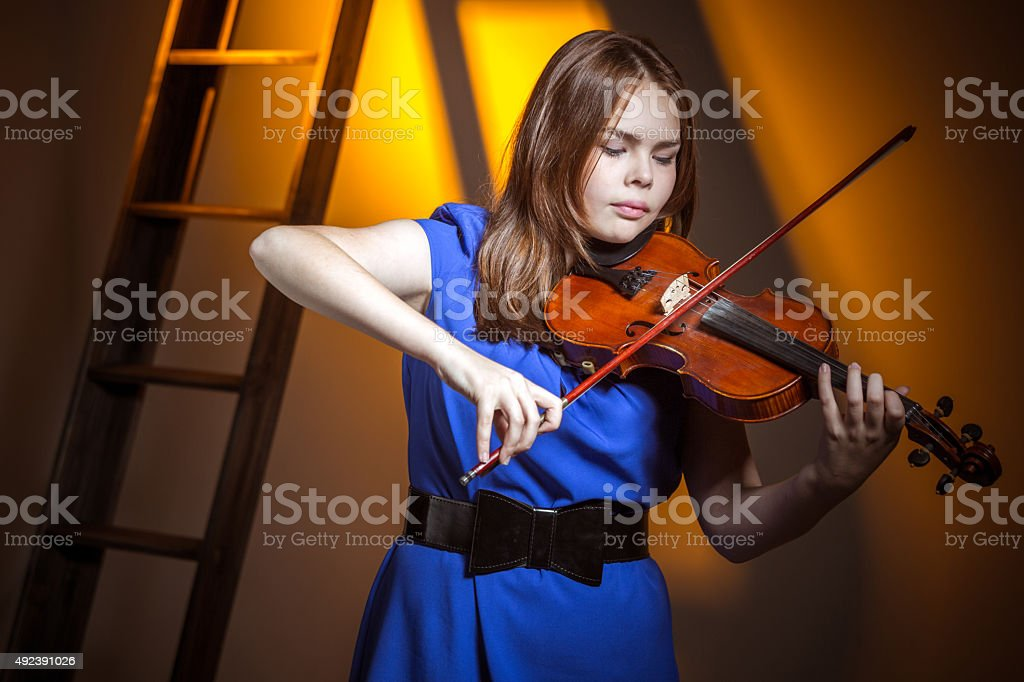 Violinist Playing Classical Music stock photo