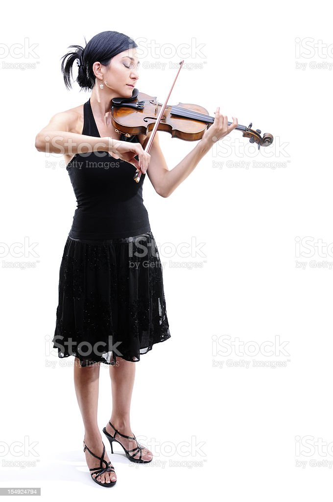 Violinist Playing Her Violin stock photo