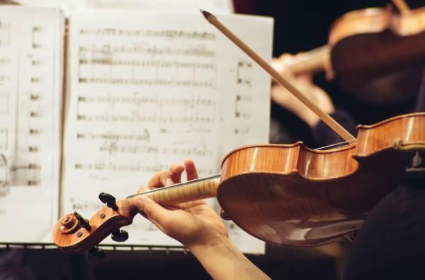 geiger im orchester spielen hautnah - philharmonie stock-fotos und bilder