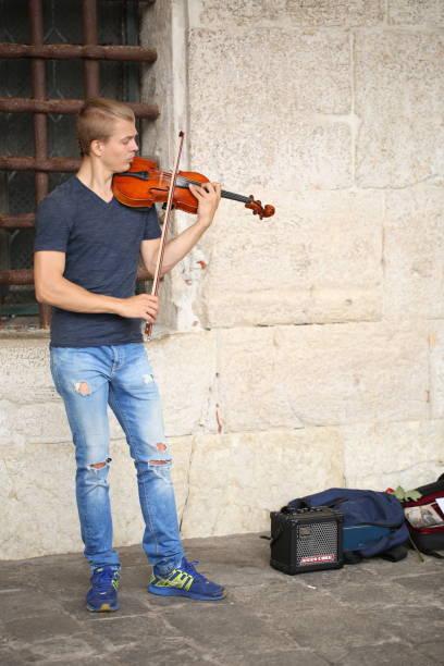 Violinist - Venice Italy stock photo