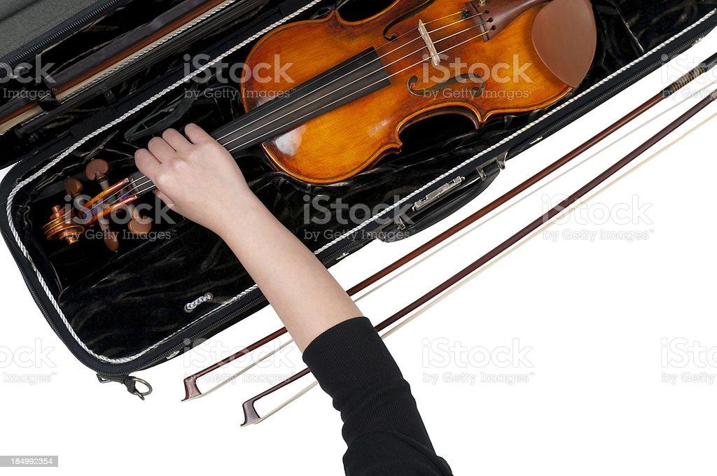 Violinist, Violin Case and Bows stock photo