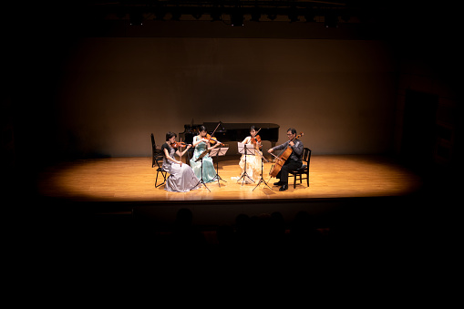Violinists and cellist playing at classical music concert
