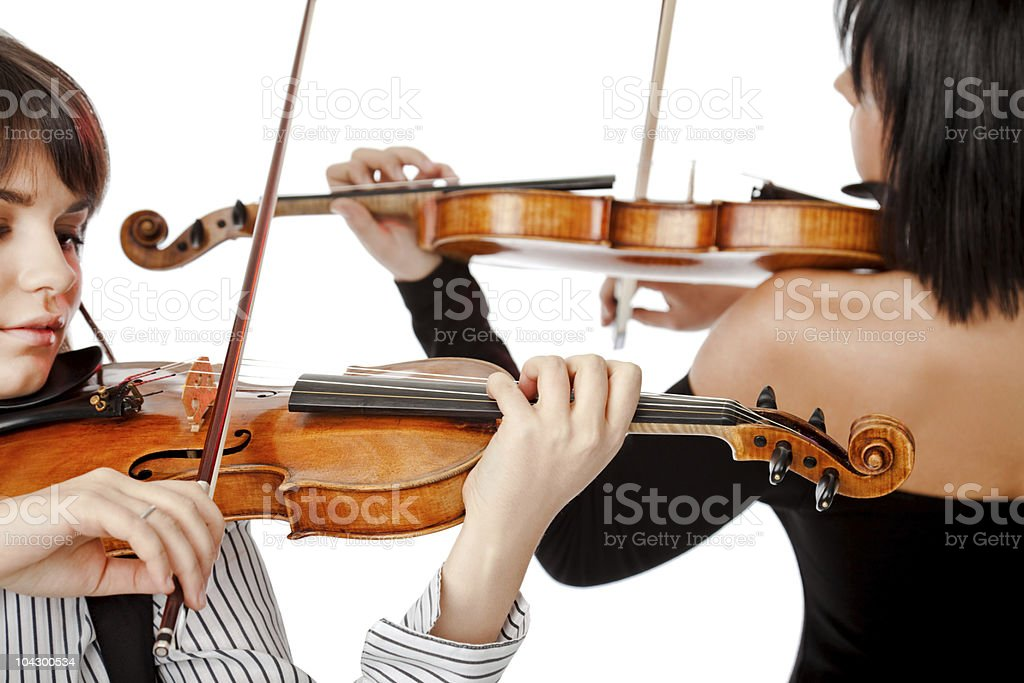 Violinists isolated stock photo