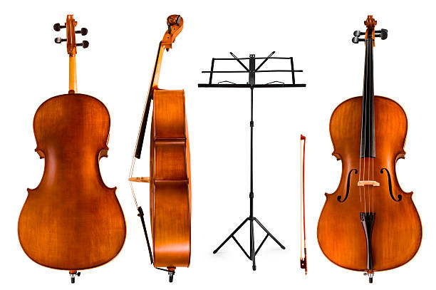 Violoncello and Music Stand stock photo