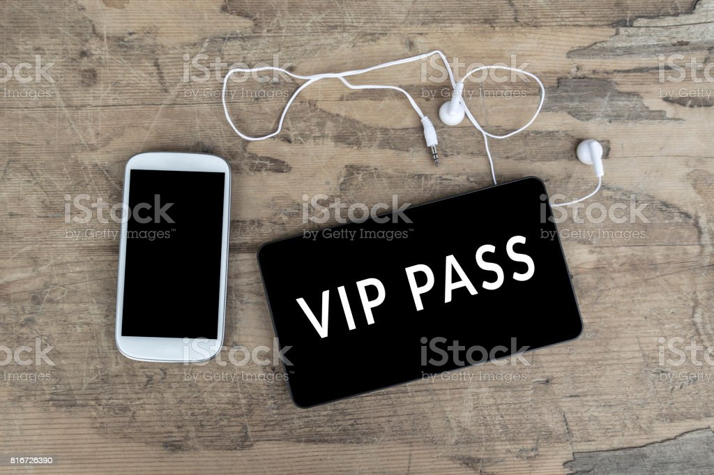 Vip Pass on digital tablet computer. stock photo