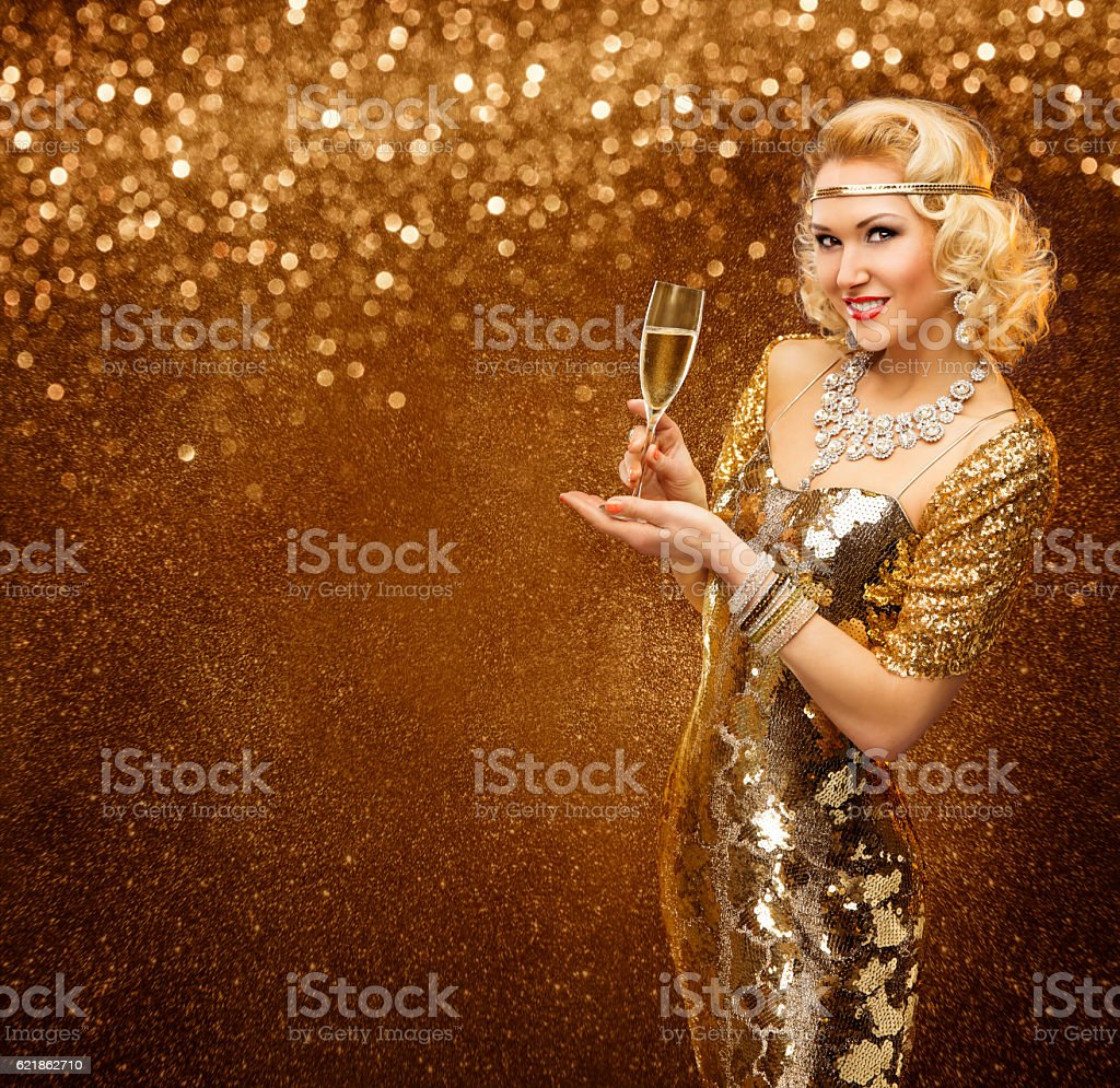 Vip Woman with Champagne Glass Celebrating Holiday Party, Retro Lady...