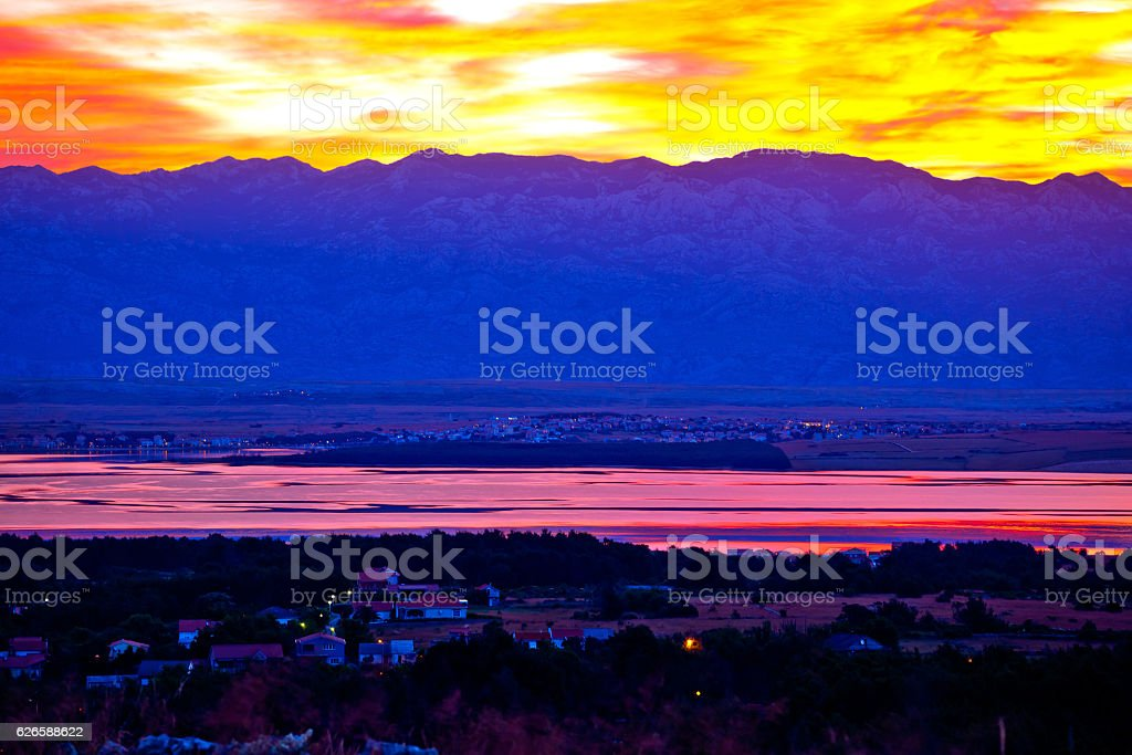 Vir and Pag islands at dawn stock photo