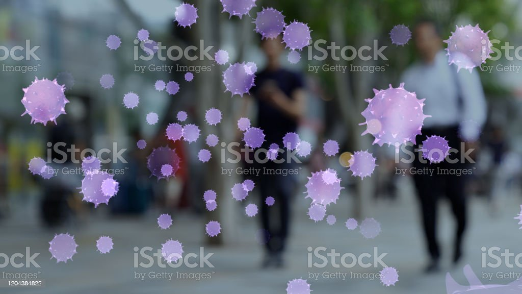 Viral infection concept. Floating virus. - Royalty-free Airport Stock Photo