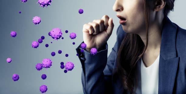 viral infection concept. floating virus. - patogeno foto e immagini stock