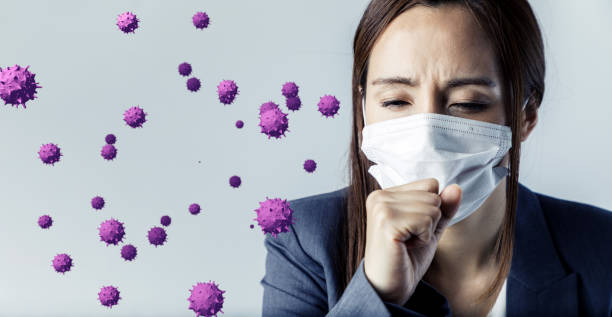 viral infection concept. floating virus. - virus protection foto e immagini stock