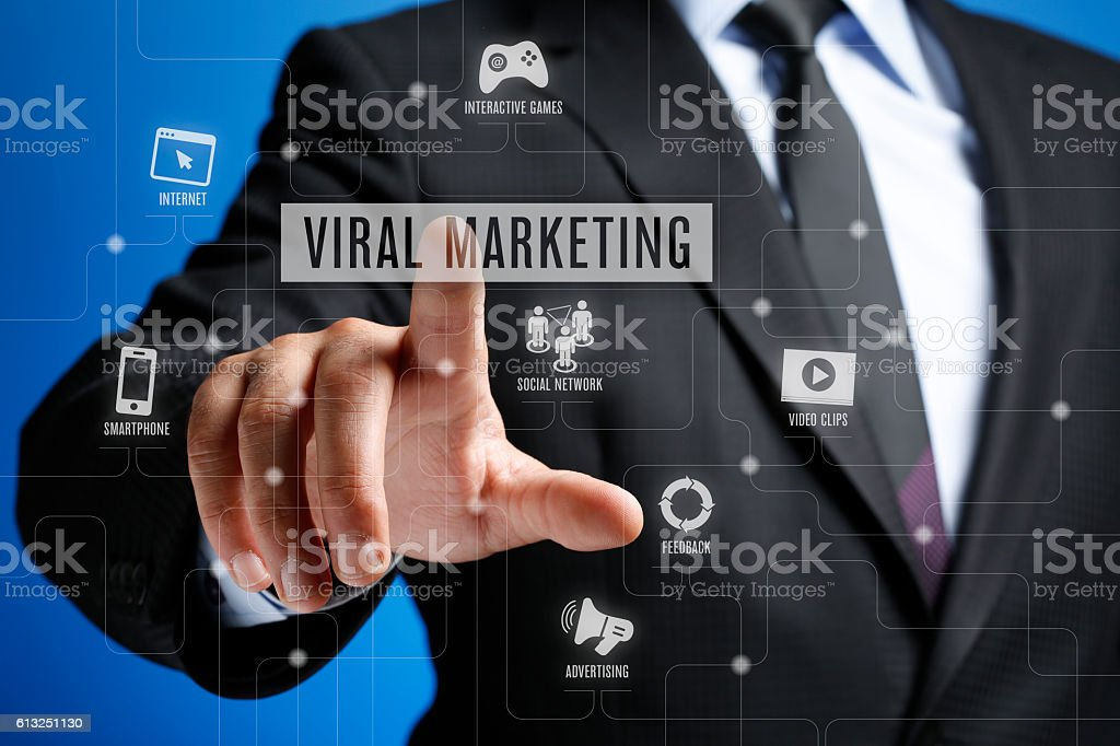 Viral Marketing Concept on Interface Touch Screen stock photo