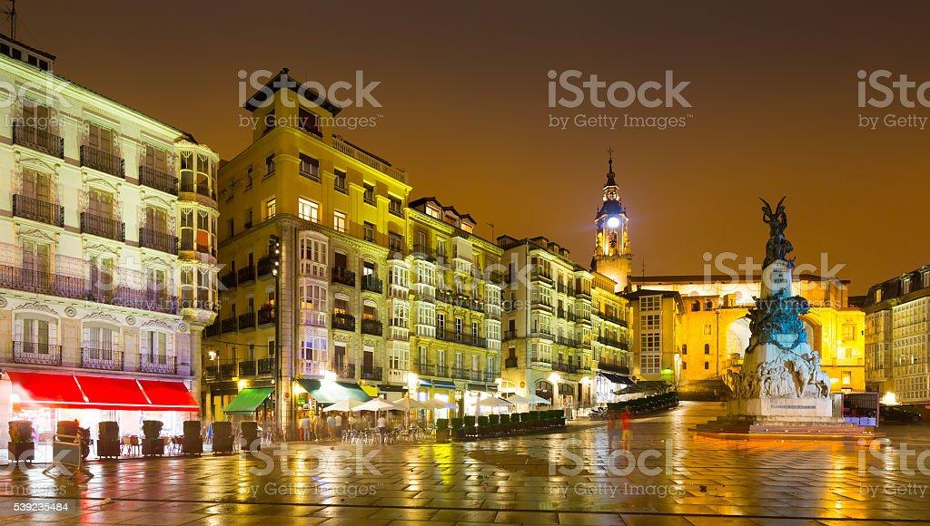 Virgen Blanca Square  in night.  Vitoria-Gasteiz royalty-free stock photo