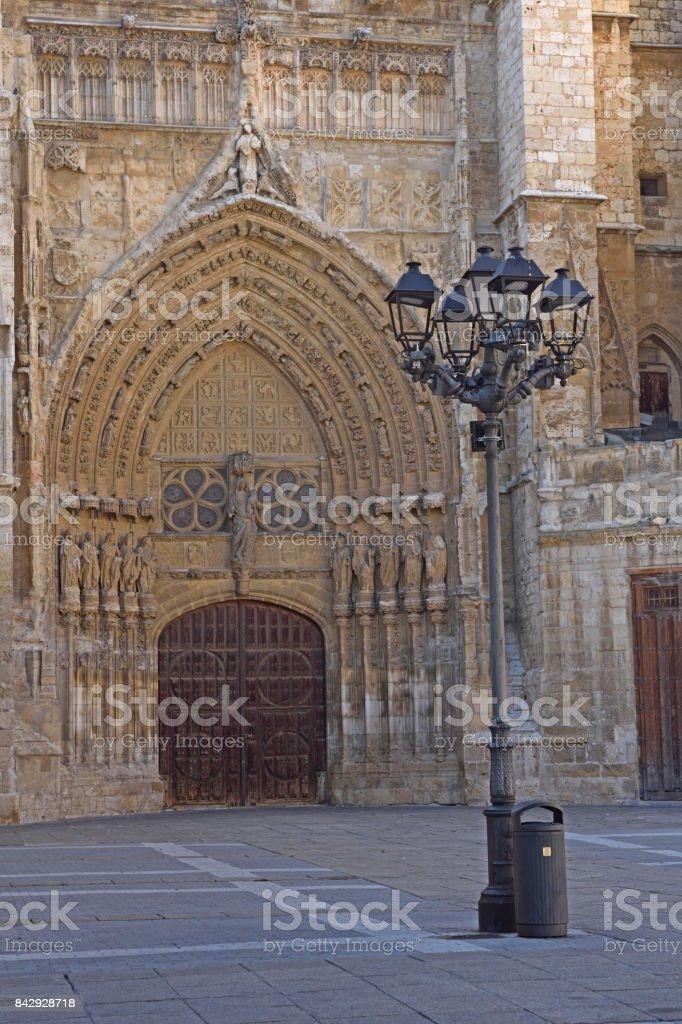 Virgen o El obispo door of Catheral of Palencia, Castilla y Leon, Spain stock photo