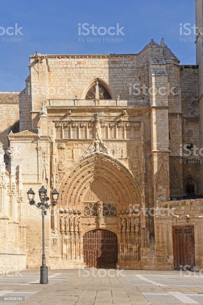 Virgen o El obispo door of Catheral San Antolin, Palencia, Castilla y Leon, Spain stock photo