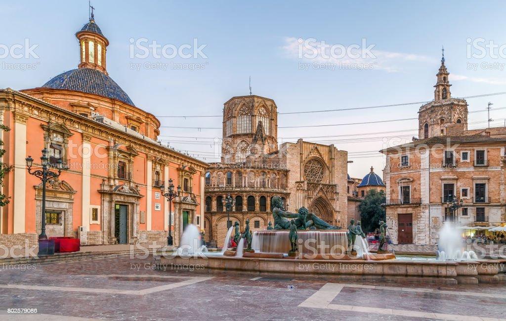 Virgen square in Valencia, Spain stock photo