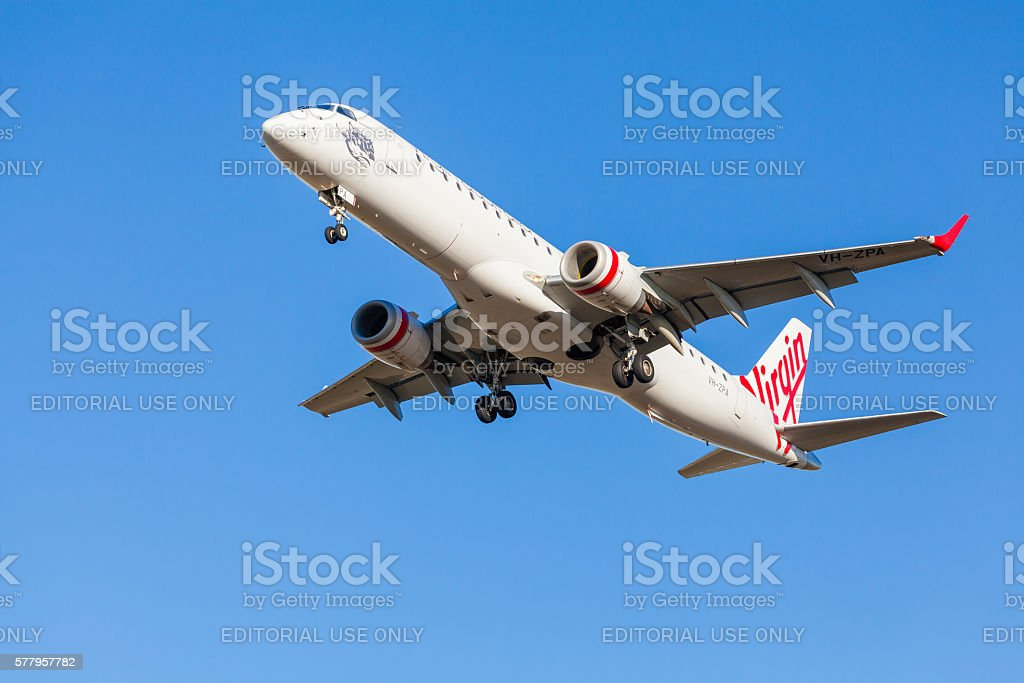 Virgin aircraft approaching to landing at Melbourne Airport stock photo