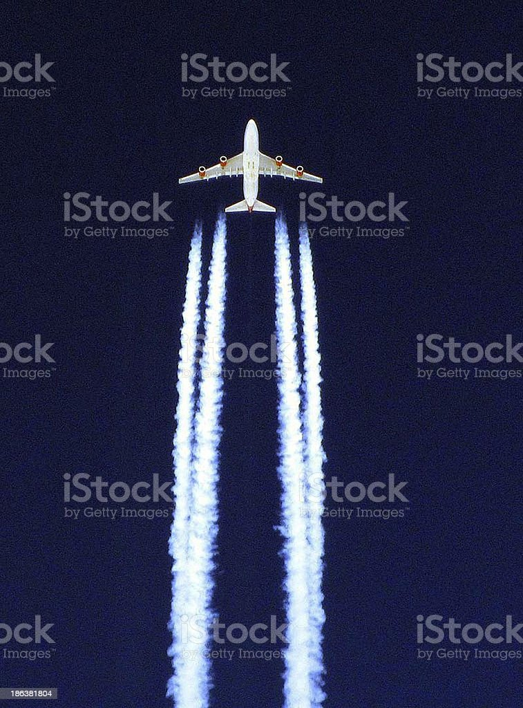 Virgin Airways Boeing 747-400 from London to Los Angles stock photo