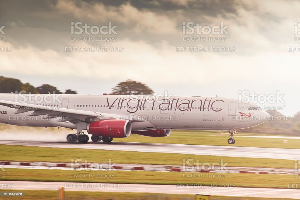Virgin Atlantic Airbus A330-300 plane taking off stock photo