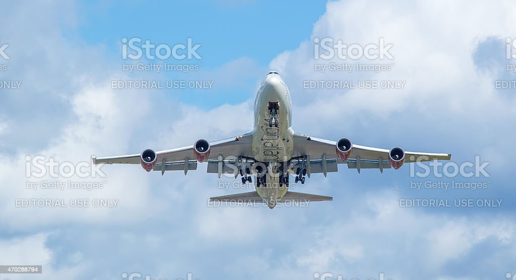 Virgin Atlantic boeing 747 just taken off from airport stock photo