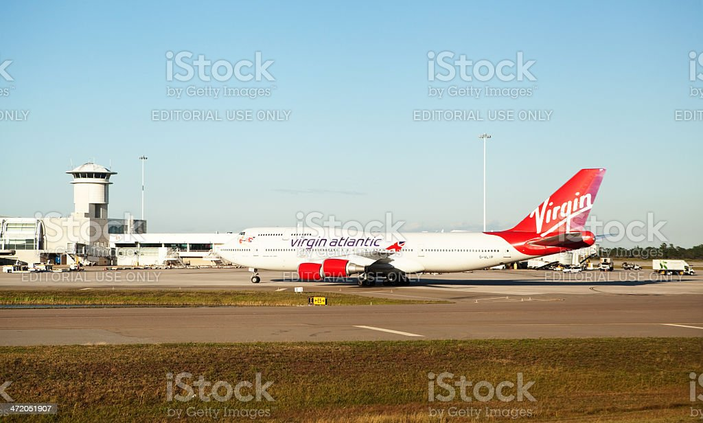 Virgin Atlantic Boeing 747-400 Hot Lips Airplane Taxiing to Terminal stock photo