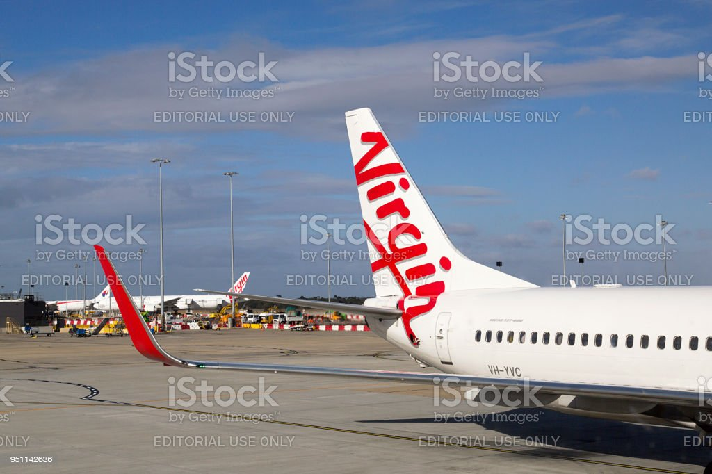 Virgin Australia Airplane at Tullamarine Airport stock photo