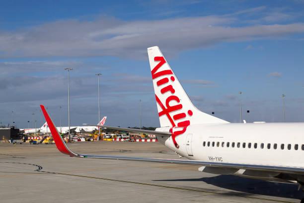 Virgin Australia Airplane at Tullamarine Airport stock photo