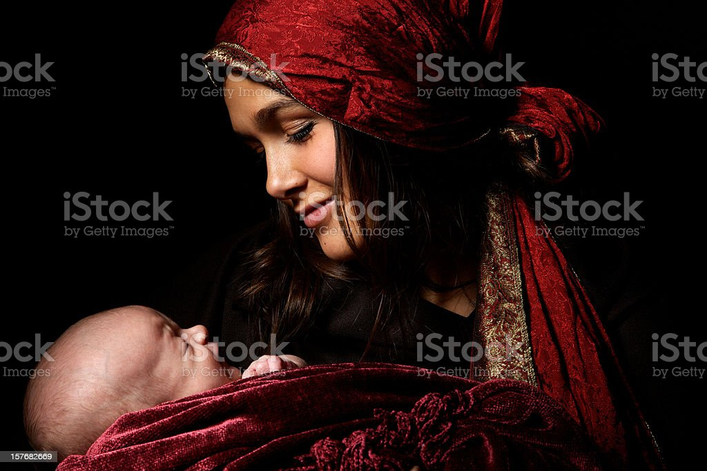 virgin Mary baby Jesus Christ born Christmas royalty-free stock photo