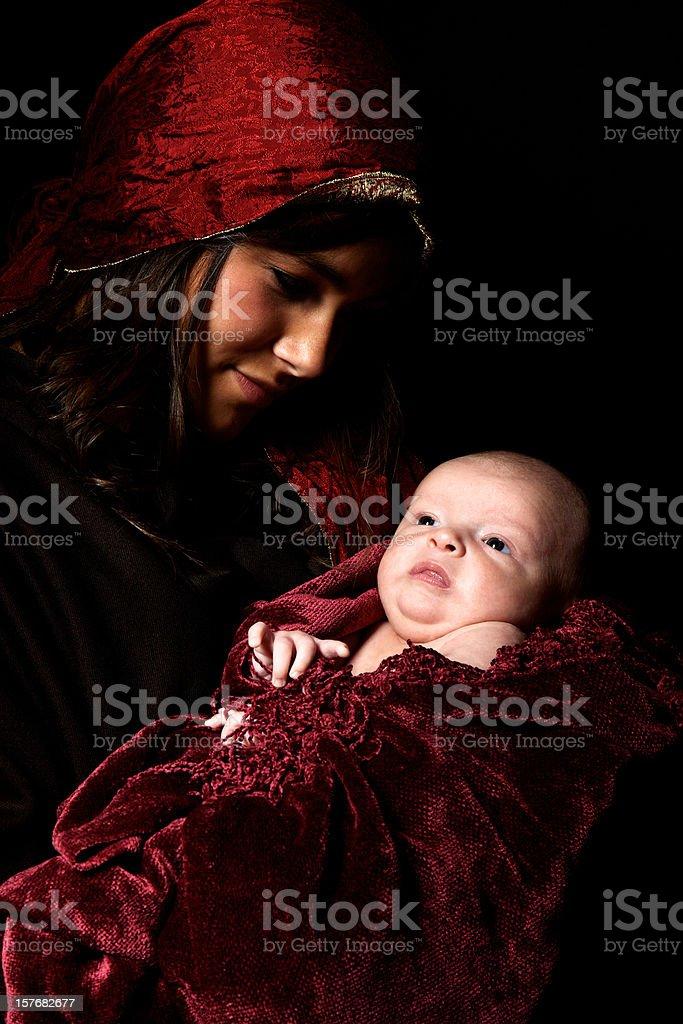 virgin Mary baby Jesus Christ born Christmas royalty-free stock photo
