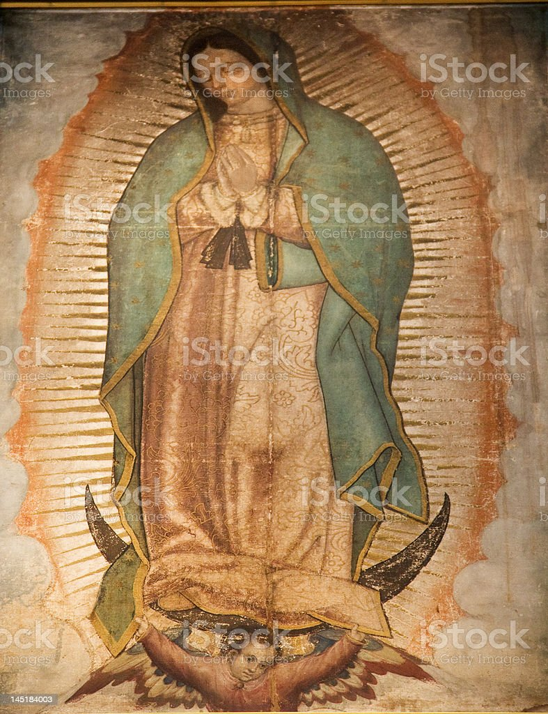 Virgin Mary Guadalupe Painting Shrine Mexico City stock photo