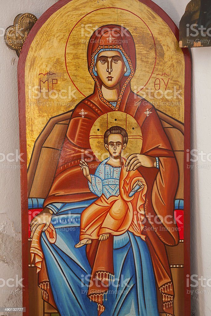 Virgin Mary holding the Child Jesus Eastern Orthodox Icon stock photo