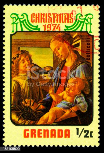 Virgin Mary Postage StampPainting of BotticelliChristmas 1974Grenada
