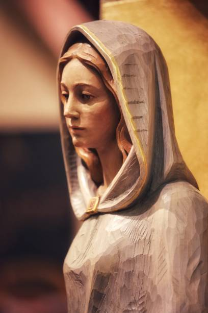 Virgin Mary Saint Wooden Statue Catholic Church stock photo