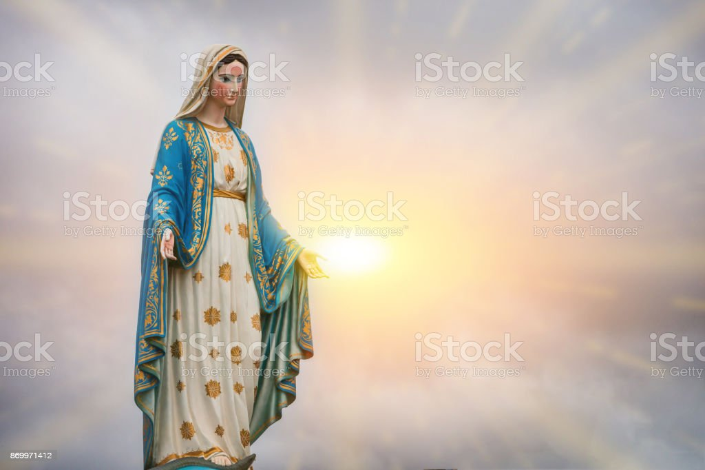 Virgin Mary statue and sunset at the Catholic Church Chanthaburi province, Thailand. stock photo