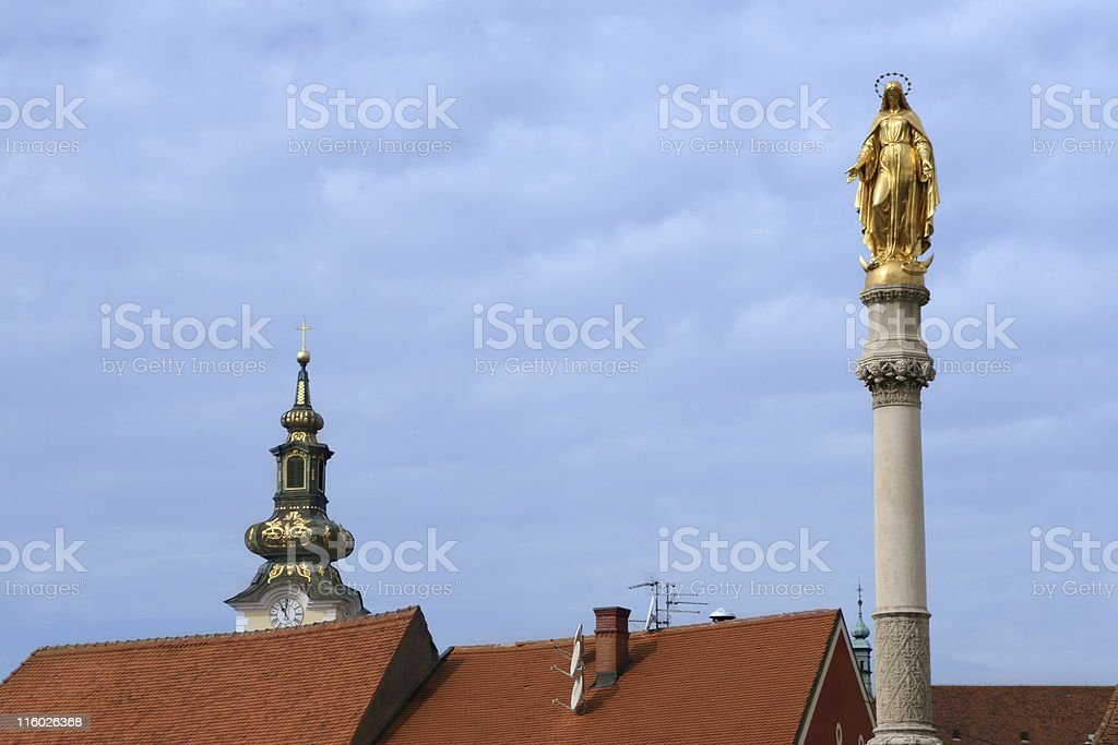 Virgin Mary statue in front of the Zagreb cathedral royalty-free stock photo