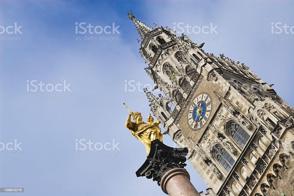 Virgin mary statue in munich stock photo