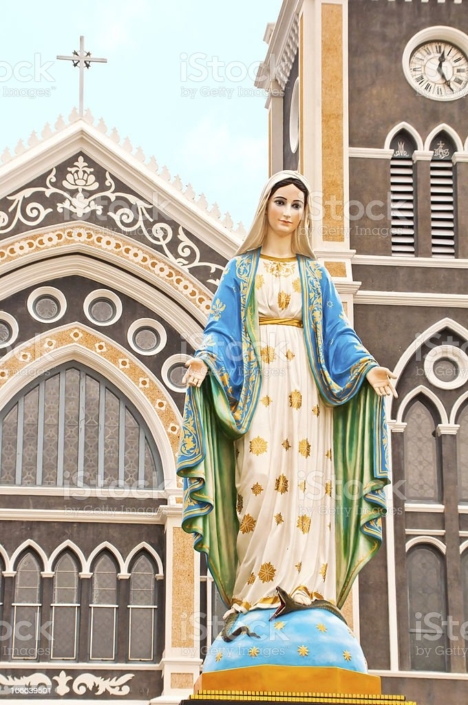 Virgin mary statue in thailand royalty-free stock photo