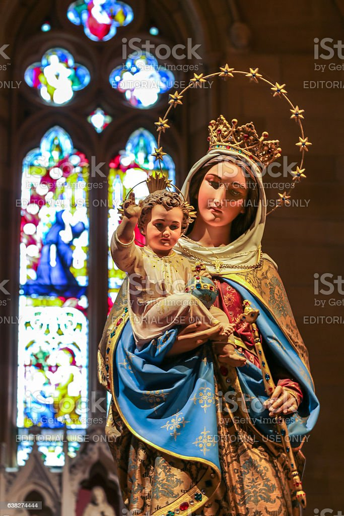 Virgin Mary with Child statue in Cathedral stock photo