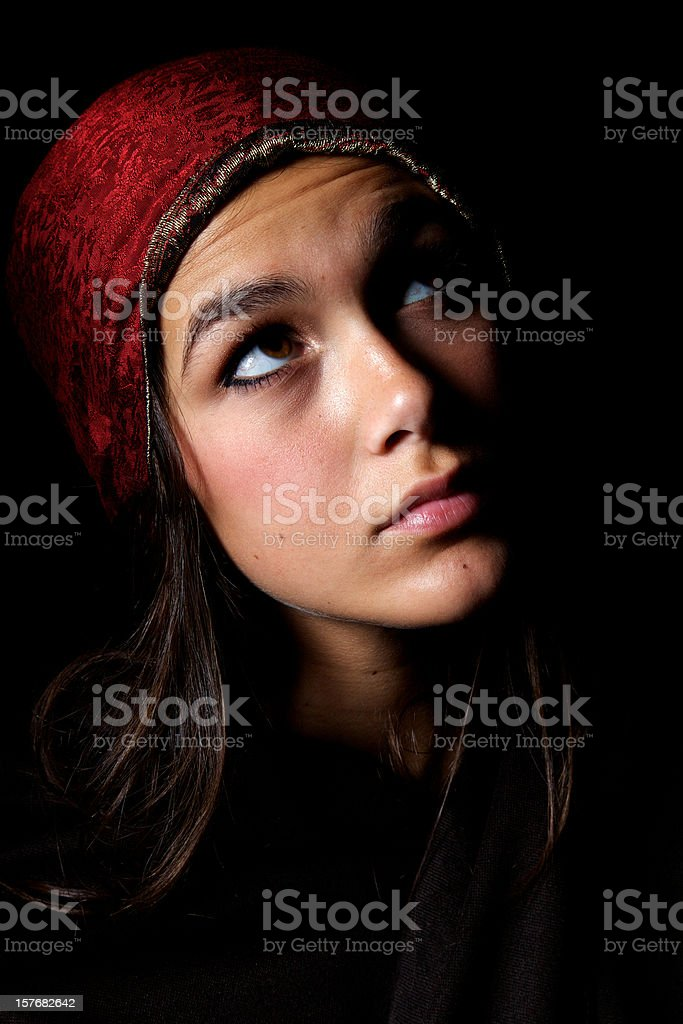 virgin Mary young teen girl Christmas royalty-free stock photo