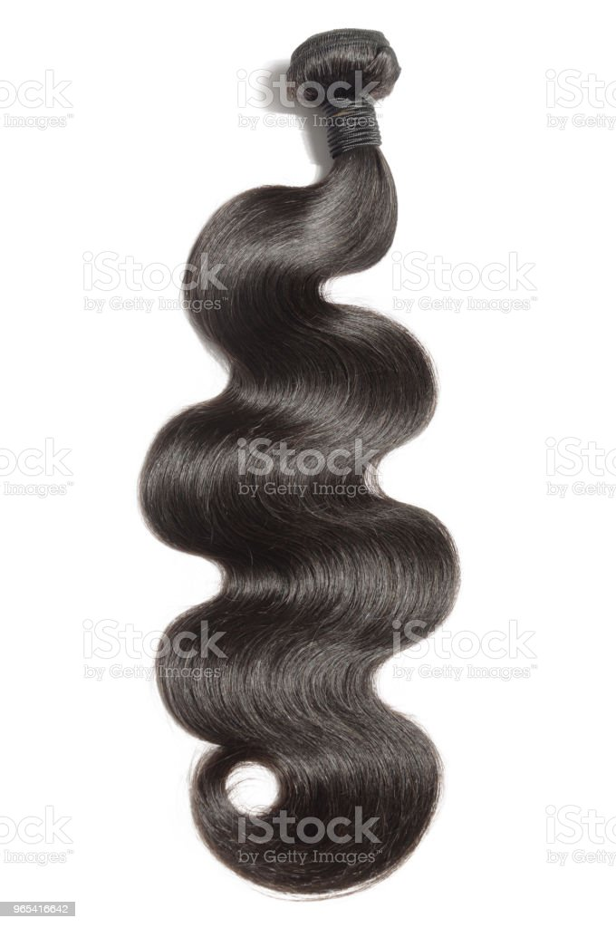 virgin remy body wavy black human hair weave extensions royalty-free stock photo