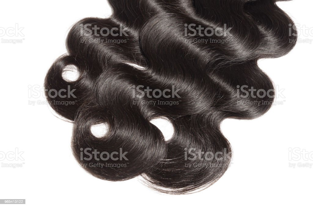 virgin remy body wavy black human hair weaves extensions royalty-free stock photo