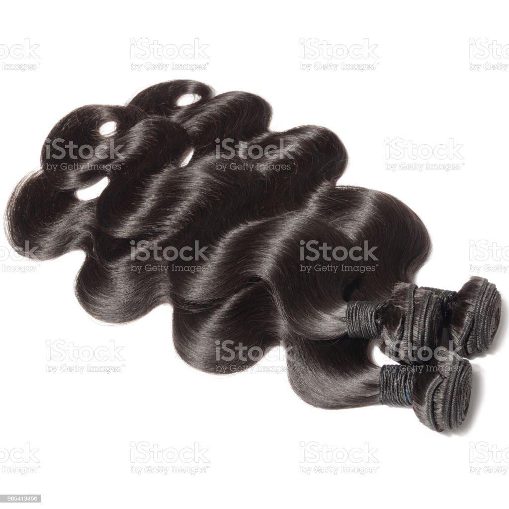 처녀 레미 몸 물결 모양의 검은 머리카락 엮어 확장 - 로열티 프리 0명 스톡 사진