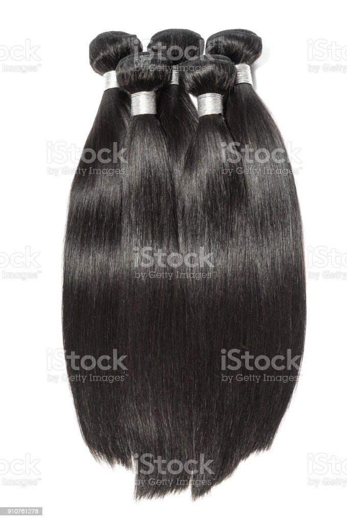 cabelo humano virgem remy lisos e negro tecer feixes de extensões - foto de acervo