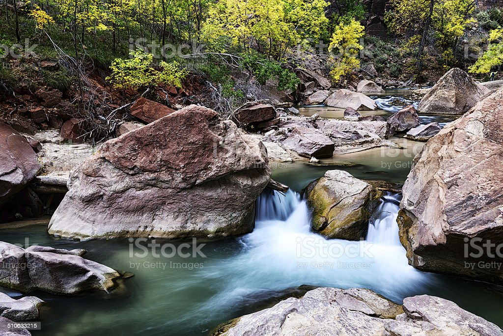 Virgin River waterfall, Zion National Park stock photo