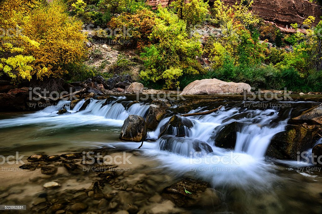 Virgin River white water, Zion Canyon, Utah stock photo