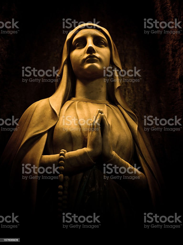 virgin statue in barcelona cathedral stock photo
